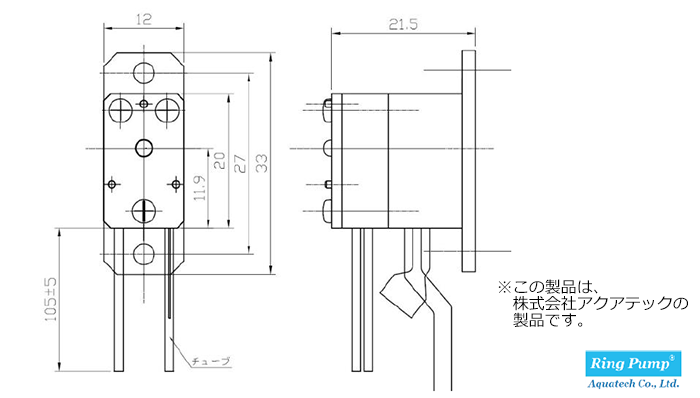 小型チューブポンプ RP-TX 図面